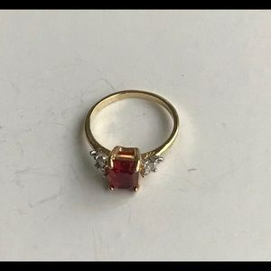 Women Gold Ring, 14 KT GE Ruby Red Rhinestone